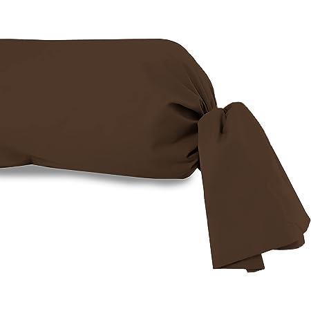 Atmosphère Taie de traversin uni 85x185 cm ATMO chocolat