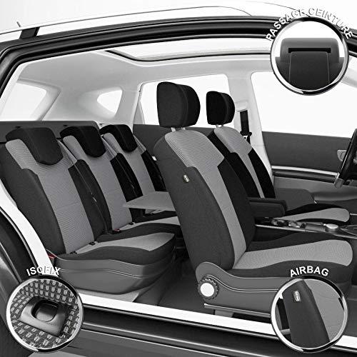 DBS - Housses de siège sur Mesure pour Touran (03/2003 à 08/2015) | Housse Voiture/Auto d'intérieur | Haut de Gamme | Jeu Complet en Tissu | Montage Rapide