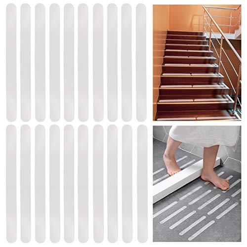 AMIGOB 22 Stück Antirutschstreifen Antirutsch Selbstklebend für Bad, Dusche und Treppen 65x3 cm Transparent Wasserdicht Treppenstufen Antirutsch Sticker Klebeband Sicher und Fest