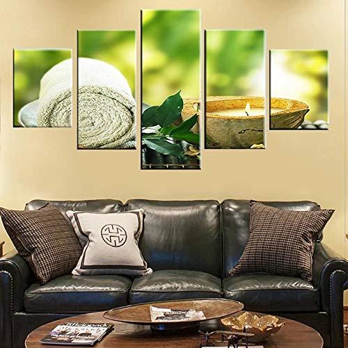 Cuadro Moderno En Lienzo 5 Piezas XXL Vela De Hoja De Toalla HD Abstracta Pared Imágenes Modulares Sala De Estar Dormitorios Decoración para El Hogar 150X80Cm