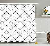 JOOCAR Cortina de ducha de diseño Shabby Chic Damasco Patrón Vintage Kitsch Geométrico Diamond Lines Negro Blanco Tela Impermeable Decoración de Baño Set con Ganchos