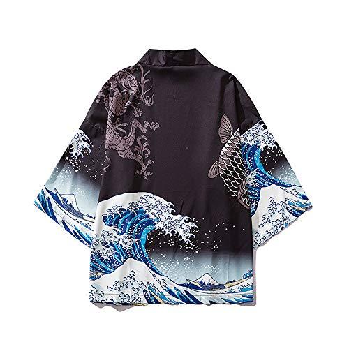HAORUN Hombres Japonés Kimono Chaqueta Casual Cárdigan Blanco Negro Tops Vintage Coat Negro Negro ( L