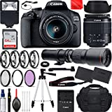 Canon EOS 2000D DSLR Camera with EF-S 18-55mm f/3.5-5.6 III (Rebel T7), 500mm f/8.0 Preset Manual Focus Lens Travel Bundle with Accessories (Extra Battery, Digital Flash, 64Gb Memory and More)