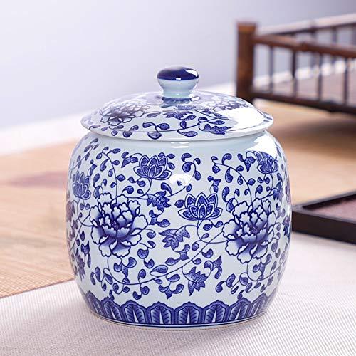 EVEYYGZ Tetera Azul y Blanca Tetera de Tanque de Almacenamiento de Lata de cerámica sellada Mediana Medio Catty Regalo Universal Personalizado, Maceta de Porcelana Azul y Blanca Flor Azul
