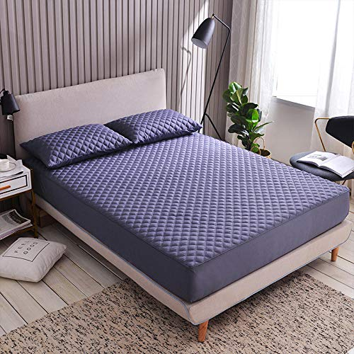 ChileYile Protector de colchón Cepillado de Color Liso Engrosamiento Antideslizante más Dormitorio de algodón-El 120x200 * 20cmpúrpura