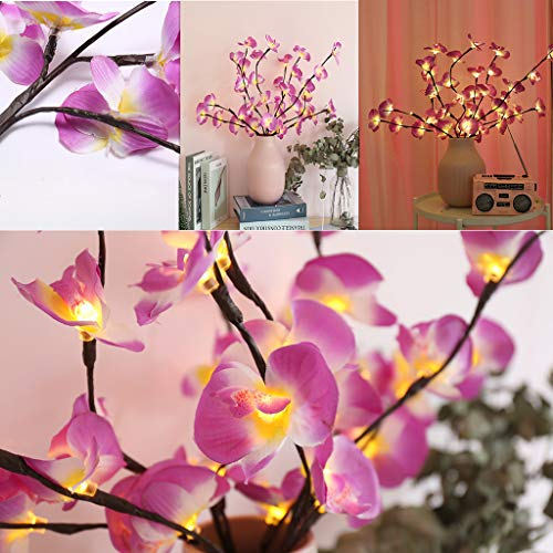 beenimed Phalaenopsis Tree Branch Light Floral Lights Home Christmas Party Garden Decor Purple Perfect for Home, Bedroom, Living Room, Balcony, Balcony Window, Office Room