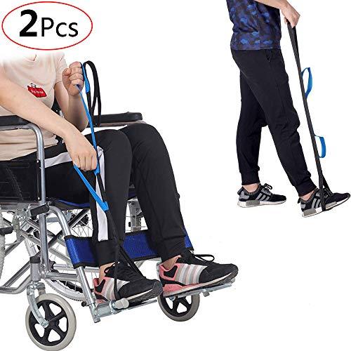 GHzzY Beinheber Gurt für ältere Menschen, Behinderte und Kinder - Starre Fußschlaufe und Handgriff für Ersatz für Rollstuhl, Bett, Auto, Couch und Hüfte (2 Stück)