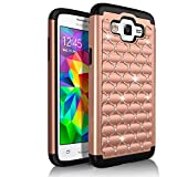 Galaxy Grand Prime Case, Starshop Slim Dual Layer Armor Phone Case Cover with Spot Diamond and [Premium HD Screen Protector Included] (Rose Gold)