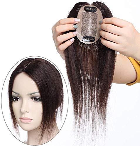 "10""(25cm) SEGO Extensiones de Clip de Pelo Natural Prótesis Capilar Mujer [#2 Castaño Oscuro] 100% Remy Cabello Humano Flequillo Postizo Hair Topper (20g)"