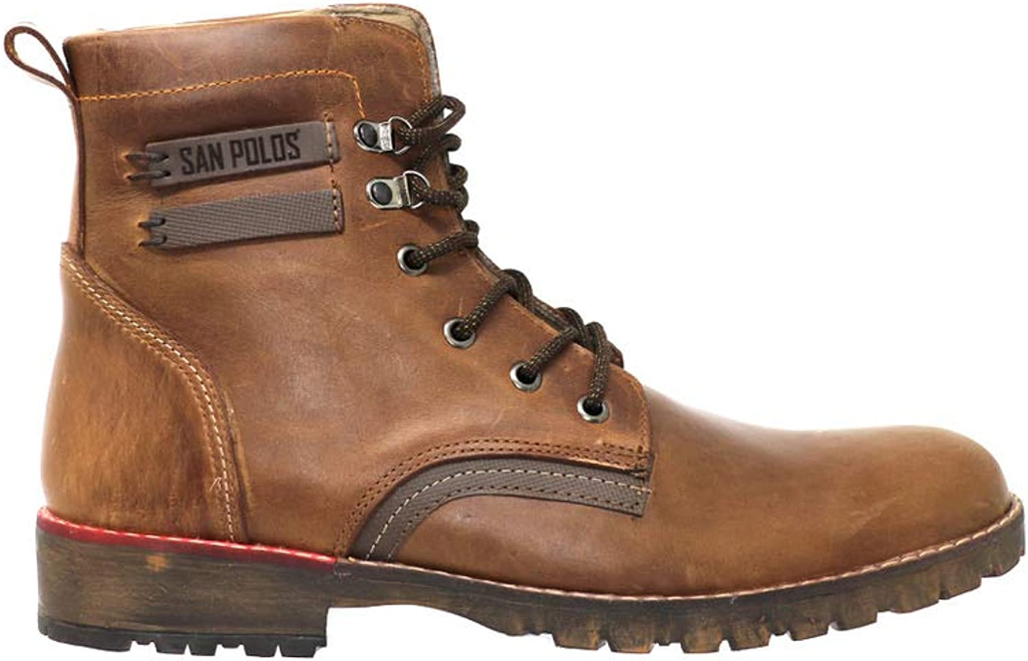 San Polo Six Inch Leather Workboots (Coffee Brown) Mens, Handcrafted, Full Grain Leather, Lace Up, Rounded Toe, Thick Sole, Casual, Modern Style.