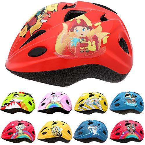 Skullcap® Roter Kinderfahrradhelm für Jungs & Mädchen Helm für Inliner Rollschuh Schlittschuh Scooter Longboard Roller Kinderhelm Motiv: Feuerwehrmann, Größe: S…