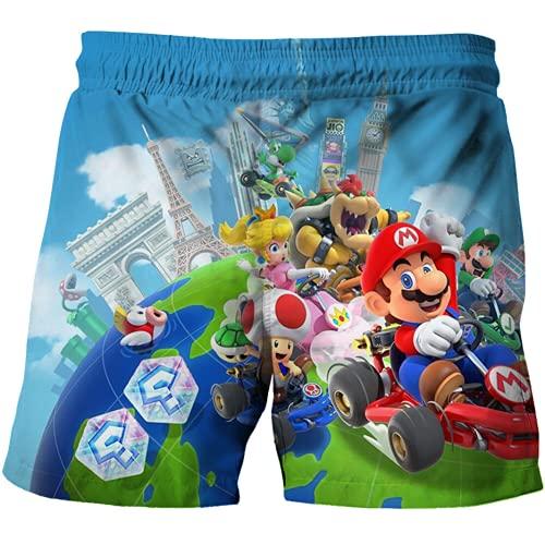 NFBZ Super Mario - Pantaloncini da bagno per bambini e bambine, in rete, foderati, da spiaggia, F03, 120