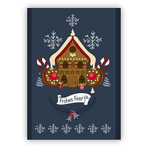 Süße Weihnachtskarte mit leckerem Lebkuchenhaus und Keksen: Frohes Fest • als hübsche Grußkarte zu Weihnachten, Jahres-Ende für Familie und Firma