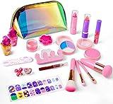 AstarX Ensemble de Maquillage pour Enfants 21 pièces cosmétiques lavables Sac de Maquillage pour Filles Jouets de Maquillage pour Enfants Cadeau