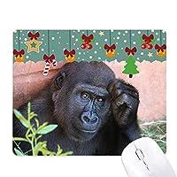 陸生生物が野生動物のチンパンジー ゲーム用スライドゴムのマウスパッドクリスマス