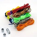 HUWQX Elástico Sin Corbata Shoelaces Semicírculo Lacios de Zapatos para niños y Zapatillas de Deporte para Adultos Shoelace Cuerdas de Bloqueo de Metal Perezoso rápido Cuerdas de Zapato,Púrpura