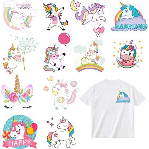 Parches Stickers de Unicornio Termoadhesivos Parche Apliquesde transferencia de calor de DIY Para camiseta Chaqueta Vaqueros Mochila