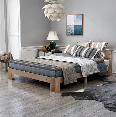 Bett, Massiv Holzbett Doppelbett Holzbett mit Kopfteil aus Bettgestell mit Lattenrost Massivholz FSC...