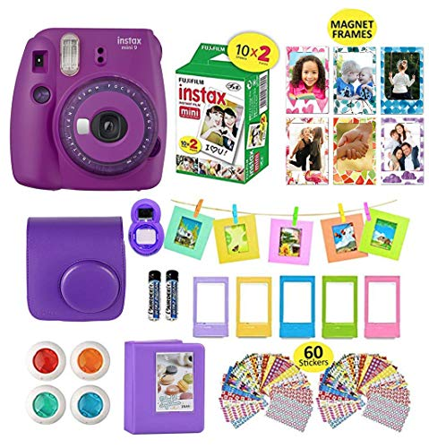 Fujifilm Instax Mini 9 Camera Purple + 20 Instant Fuji-Film Sheets, Instant Camera Case + 14 PC Instax Accessories Bundle, Fuji Mini 9 Kit Gift, 2 Albums, Lenses, 5 Desk Frames+ 60 Stickers