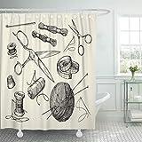 JOOCAR Cortina de ducha de diseño, vintage, nociones de costura, agujas de hilo, agujas de tejer de ganchillo, kit de decoración de baño de tela impermeable con ganchos