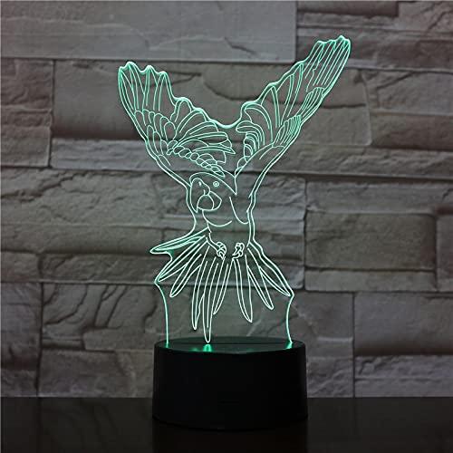 AOXULIU Luz de noche Loro Usb Led 3D Luminaria 7 Colores Que Cambian La Luz Nocturna Animal Lámpara De Ilusión Acrílica Transparente Para Regalo Creativo De Vacaciones Base Blanca