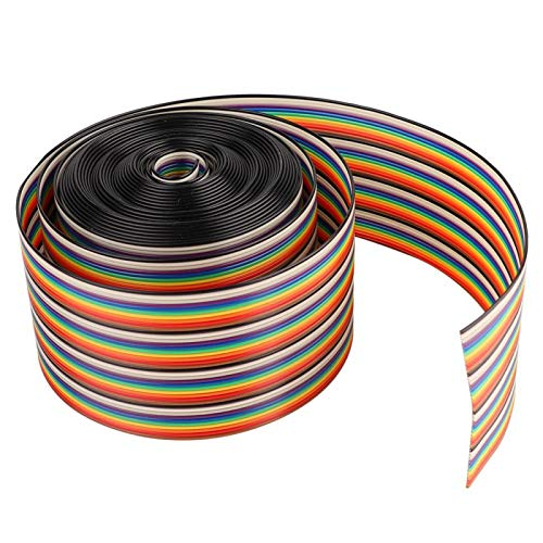 Yeelur Cable Plano de Cinta, Cable Plano Resistente al Calor, Resistencia a la Humedad Aislamiento Resistencia al Moho para Sistemas(5 Meters Long)