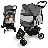 Pet Strollers for Cats and Dogs - 4 Wheels Wonfuss Pet Gear Travel Carriage Pushchair for Medium Small Dog Cat with Mesh Window, One-Click Fold, Safety Belt, Storage Basket, Cup Holder