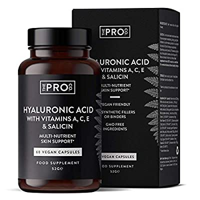 Hyaluronic Acid with Vitamins A, C, E & Salicin - 60 Vegan Capsules - Skin Support - 10 Actives Including Niacin, Iodine, Zinc, Copper and Riboflavin - Made in The UK by The Pro Co.