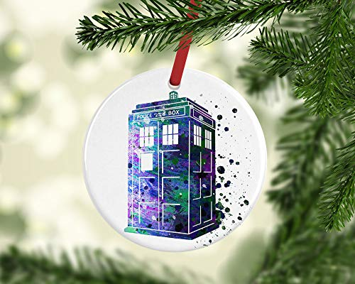 prz0vprz0v Personalized Doctor Who Christmas Ornament, Ceramic Ornament, Whovian Gift, Geeky Ornament, Geeky Gift, Christmas Decor, Keepsake, Tardis, Keepsake Gift 3' Ornament