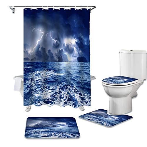 ZHEBEI Storm Raging Ozeanblau Duschvorhang WC Sitzbezug Set WC Zubehör Matte Badezimmer Dekor Badvorhänge