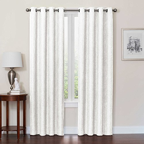 Design Solutions Quinn 95-Inch 1 Grommet Top panel 100% Total Blackout Window Curtain with thermal weave lining-White