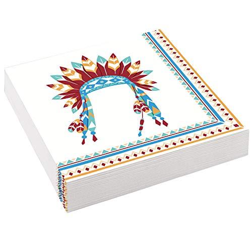 20 Servietten * Tipi & Tomahawk * für Kindergeburtstag und Motto-Party | Indianer Wilder Westen Kinder Geburtstag Mottoparty Sioux Amerika USA Napkins Einweg Partygeschirr