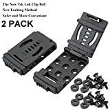 GLBSUNION Tactical Belt Clips Universal Utility EDC Belt Clip Outdoor Loops Camping Knife Blade Lock Large with Hardware for Holsters or Mag Pouches Sheath Tools, 2-Pack