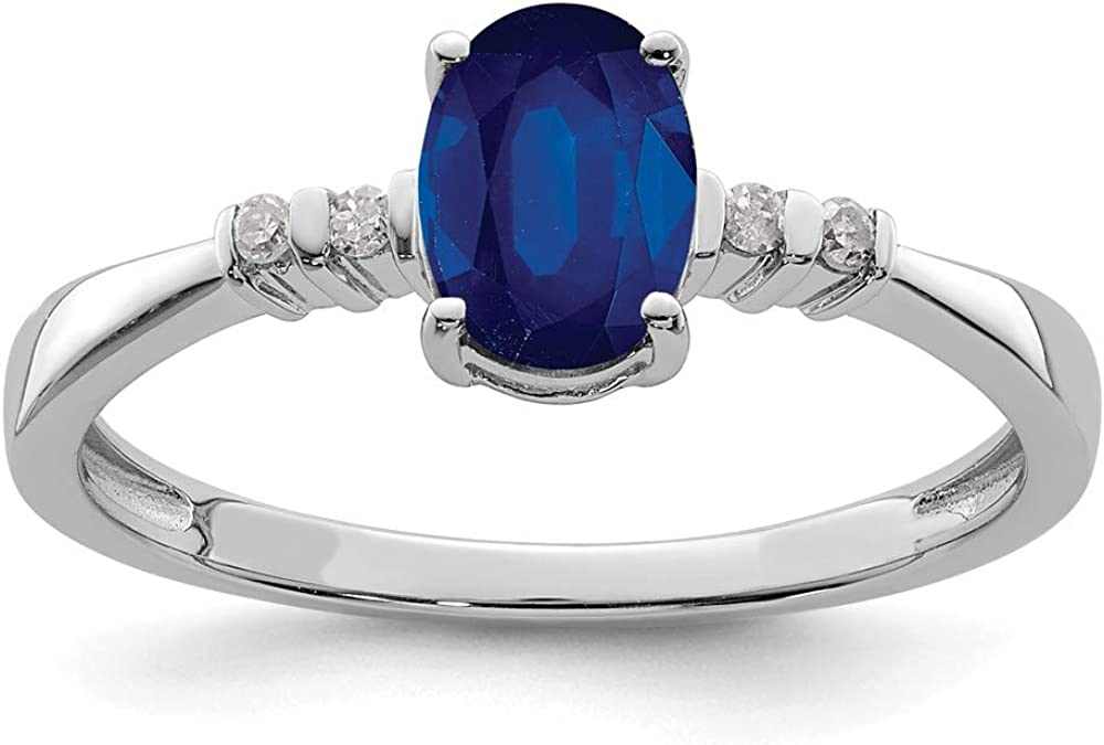 925 Sterling Max 54% OFF Silver Rhodium Plated Diamond Rin and security Sapphire Oval