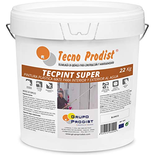 TECPINT SÚPER de Tecno Prodist - 22 Kg (BLANCO) Pintura para Exterior e Interior al Agua - Gran cubrición y blancura - Lavable - Fácil Aplicación