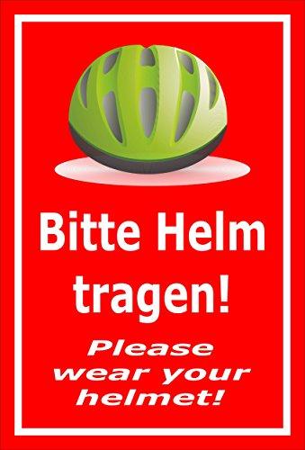 Melis Folienwerkstatt Schild - Bitte Helm tragen - 45x30cm | 3mm Hartschaum – S00050-091-D -20 VAR