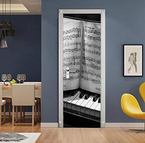 Creatieve 3D Retro Zwart en Wit Piano Sleutelplaat Muziek PVC Waterdichte Zelfklevende Home Decoratie Slaapkamer Woonkamer Art Design 95 * 215cm