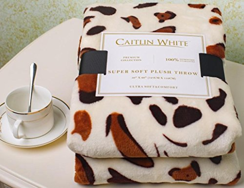 Caitlin White Throw Blanket for Couch/Sofa/Bed, Luxury Super Soft Microplush Velvet, 50'x60', Leopard Print