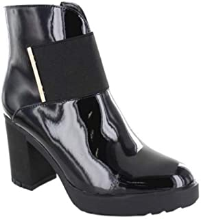 Black Ankle Boot Heel Woman Patent Leather