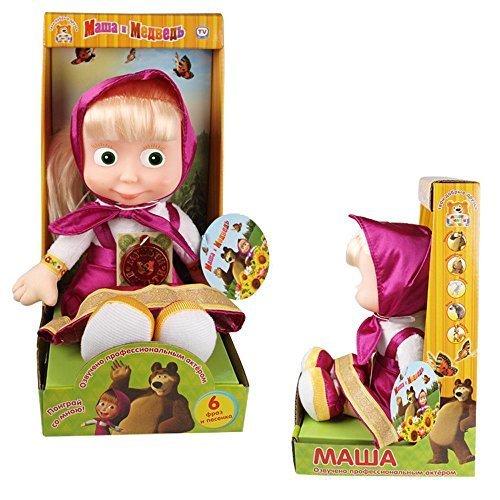 Mascha aus Mascha und der Bär / Masha von Masha i medved / Plüschpuppe, Stoffpuppe / Sprechend und mit Musik (Purpur in Geschenkbox)