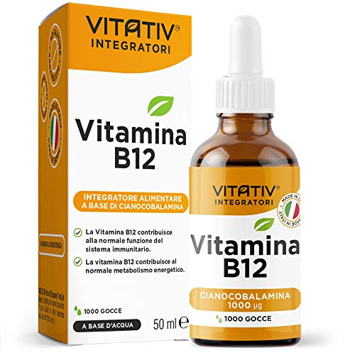 VITATIV  Vitamina B12 in Gocce a Base di Cianocobalamina 50 ml 1000μg Sublinguale | Made in Italy