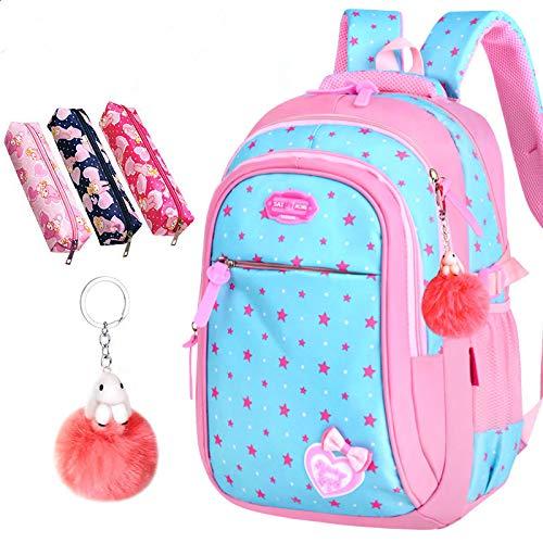 Bolsas Escolares para Chicas Estrella Impresiones para niños Estudiante Mochila Escuela Primaria Bolsa de Libro Bolsas de niños Mochila (Color : Sky Blue Stars)