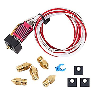 Creality Original 3D Printer Extruder Assembled MK8 Hot End Sprinkler Kit for Ender 3 / Ender 3 Pro with Silicone Boots and 0.4mm Nozzle