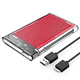 ORICO 2.5インチ HDDケース USB3.0 ハードディスクケース SSDケース SATA3.0 ドライブケース 全透明筐体 PC材質 静電気防止 UASP対応 5Gbps高速 9.5mm/7mm 両対応 4TBまで 工具不要 アルミパネル 2179U3-RD