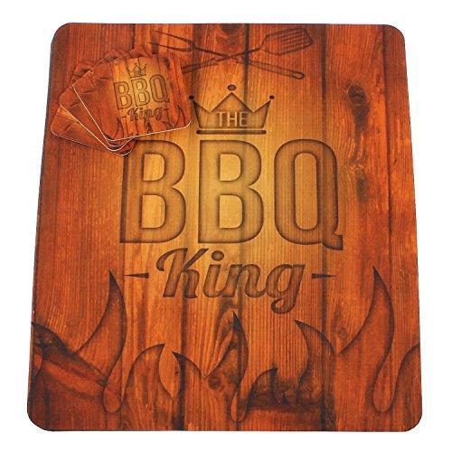 MACOSA PA30003 4er Set Platzset mit Glas-Untersetzer BBQ King Unterlage Kunststoff Waschbar Moderne Festgarnitur Garten-Tischmatten Tischset