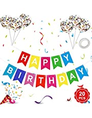 Happy Birthday Banner, Happy Birthday Banners with Colorful Latex Confetti Balloons, Rainbow Happy Birthday Bunting Banners for Girls Boys 1st 18th 21st 30th Any Ages Birthday Party Decorations