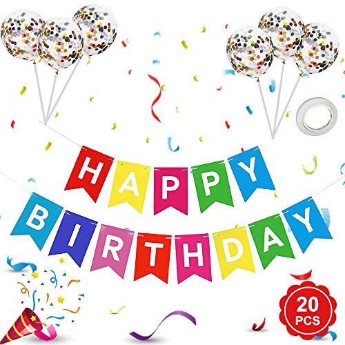 Banniere Joyeux Anniversaire, Banderole Guirlande Anniversaire et Latex Ballon Confetti Ballons, Banderole Joyeux Anniversaire/Happy Birthday Bannière pour Garcon Fille Fête Anniversaire Décorations