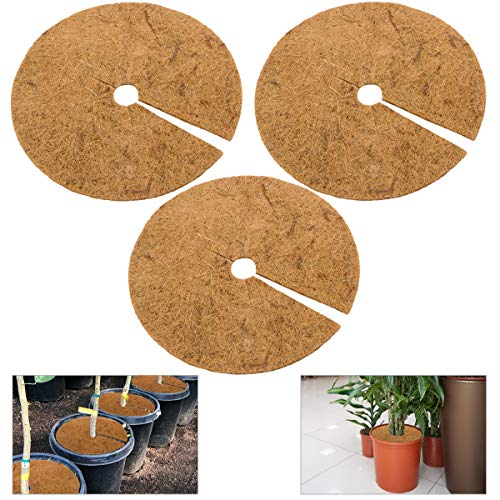ANPHSIN 3 Pcs Coco Coir Mulch Ring Tree Protector Mat- 11.7 Inch Natural Coconut Fibers Tree Protection Weed Mats Tree Planter Disc Plant Cover