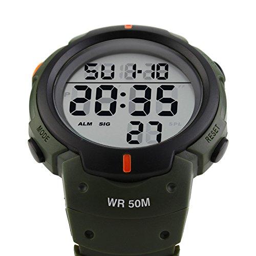 iLove EU Herren Armbanduhr 50m Wasserdicht Digital LED Alarm Datum Uhr Sportuhr Armee Grün Schwarz