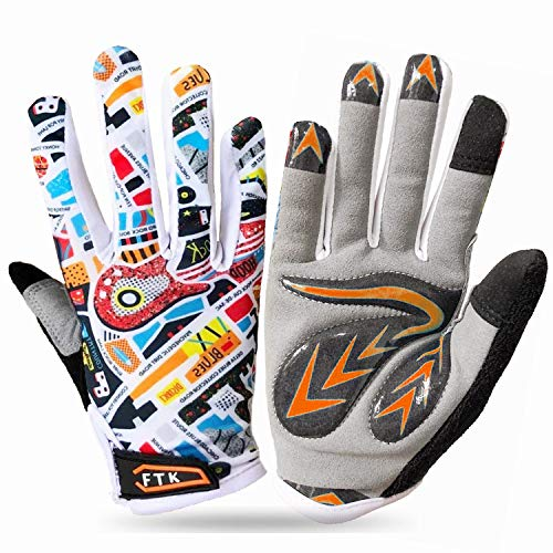 Sport Cycling Gloves for Boys Children Junior Youth Girls Full Finger Value Pair, Glove Mountain Bike Sports Outdoors Anti Slip Touch Screen Grip Blue Green Orange